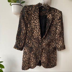 Zara leopard animal print blazer small